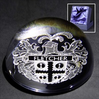 Lead crystal paperweight gift, engraved with Heraldic Crest.