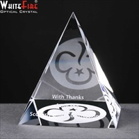 "Crystal Pyramid gift, engraved ""Thank You""."