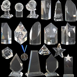 Range of Crystal Blocks, for glass engraving.