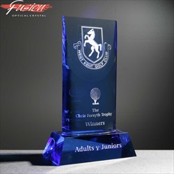 Blue optical crystal trophy, engraved for golf trophy.