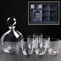 Decanter and six glasses set, for engraving.