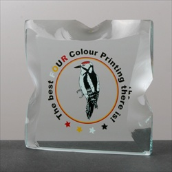 Printed Glass Paperweight, in 4 colours.