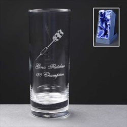 Glass Hiball Trophy, bespoke engraved, Darts Trophy.