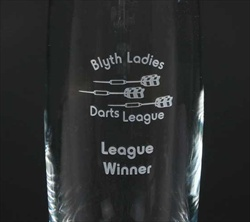 Personalised Vase engraving for a Darts League.