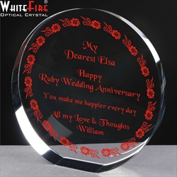 Crystal Circle, engraved & filled with Ruby colour. 40th Anniversary gift for her.