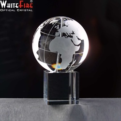 Engraved crystal Globe. 45th Anniversary gift for Him.