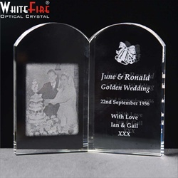 Engraved crystal Book. 50th Anniversary gift for Her.