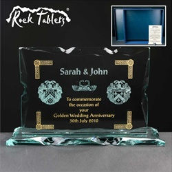 50th Anniversary gift for Couple. Glass Tablet, engraved & infilled gold.