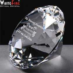 60th Anniversary gift of engraved crystal Diamond.