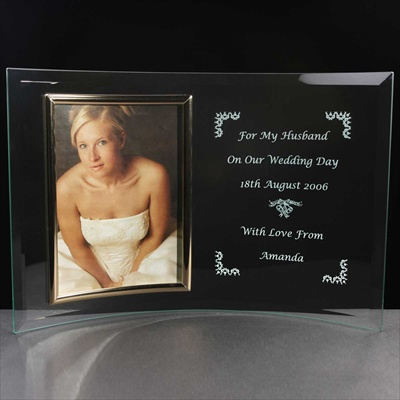 Engraved glass Photo Frame. Gift for a Groom.