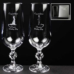 Pair of Champagne Flutes. Gift for Bride and Groom.