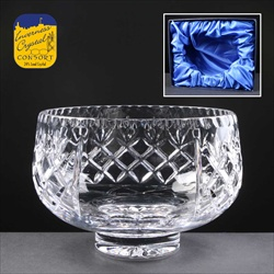 """Inverness Crystal"" Fruit Bowl with clear panel for engraving."