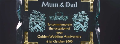 Engraved Plaque, infilled with gold. Gold Wedding Anniversary Gift.