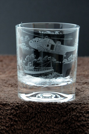 Glass tumbler, hand engraved with helicopter and boat.  Commission by Fire and Rescue.