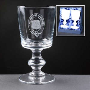 Balmoral Glass Wine Glasses, engraved with School Crest.