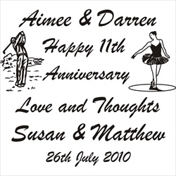 Engraving layout for 11th Anniversary for a couple.