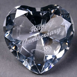 Crystal Heart, engraved Happy Anniversary, Anniversary Gift for Her.