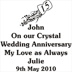 Glass engraving layout for a 15th Wedding Anniversary Gift for Him.