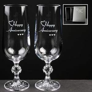 Pair of Crystal Anniversary Champagne Flutes.