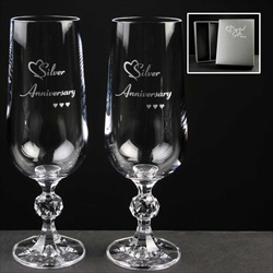 Pair of Champagne Flutes printed Silver for 25th Anniversary for Parents