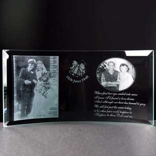 Photo-engraving of couple on Anniversary Gift.