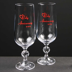 Pair of 40th Anniversary Champagne Flutes, printed ruby colour.