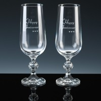 Champagne Flutes for 35th (Coral) Anniversary Gift.