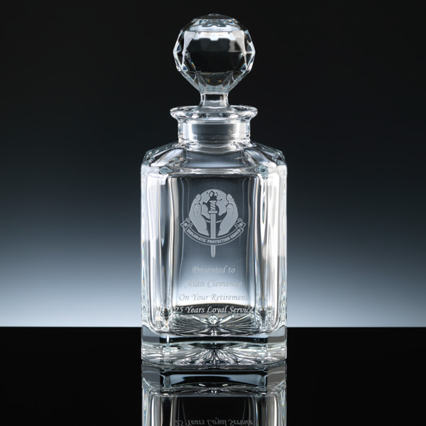 Square Decanter or Whisky Decanter. For engraving.