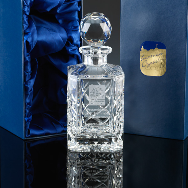 """Inverness Crystal"" Square Spirit Decanter, for engraving."