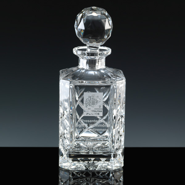 Cut Crystal Decanter, engraved for Police Retirement.