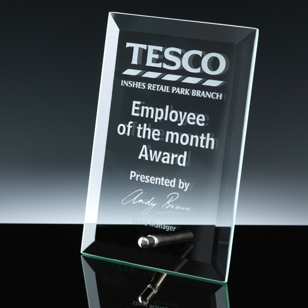 Self-supporting Plaque, engraved for Employee Award.