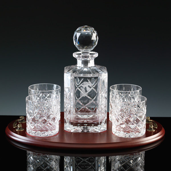 Whiskey Set. Cut-crystal decanter and 4 glasses on wood tray.
