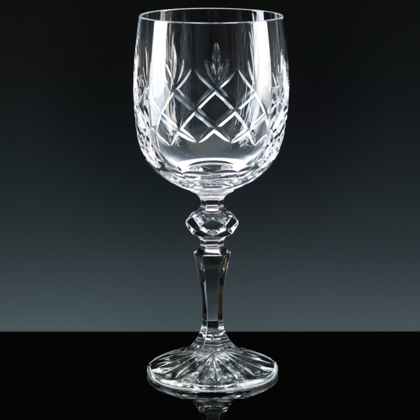 """Inverness Crystal"" Wine Glass. Clear panel for engraving."