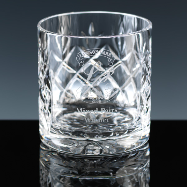 Cut-crystal whisky glass, with panel for engraving