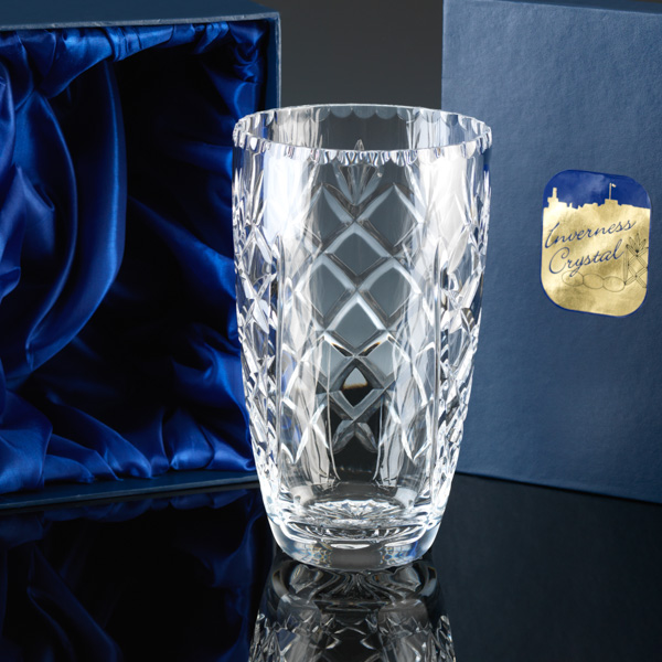 Lead Crystal Vase, cut, with engraving panel.