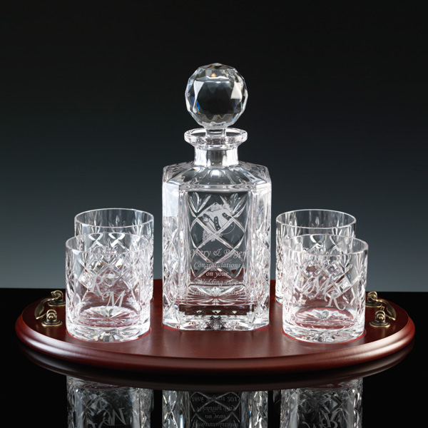 Cut Crystal Whisky Set. Decanter, 4 glasses and wood tray.