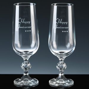 Inexpensive pair of Champagne Flutes for a Wedding Anniversary, packed in a Silver branded box, ready to buy now