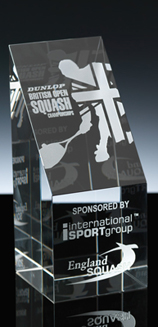A piece of Optical Crystal from the range of WhiteFire - engraved with the Dunlop British Open Squash Championships - Beautiful Sports Awards