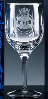 A Wine Glass part of the Inverness Crystal Range - Engraved with a Naval Crest
