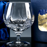 24% lead crystal, hand cut, Brandy/Spirit Glass, makes a great Anniversary Gift for Him. A clear panel of crystal is available for deep engraving your personalised message to your special man.