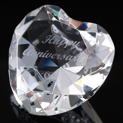 "Solid WhiteFire Crystal Heart, deep engraved with ""Happy Anniversary"". An ideal Anniversary gift for her."