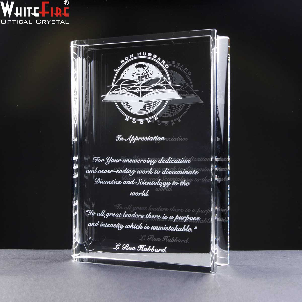 Optical Crystal book shape, engraved for Employee Recognition Award.