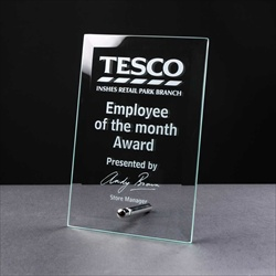 Engraved glass Employee of the Month Award.