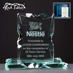 """Rock Tablet"" engraved glass Long Service Award."