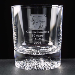 Lead Crystal Whisky Glass, engraved for Long Service Award.