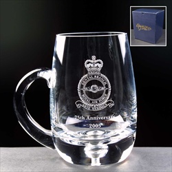 Corporate Anniversary Gift of engraved glass Tankard.