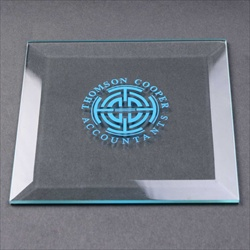 Bevelled, square glass coaster, printed for promotional gift.