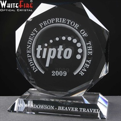 Optical Crystal flat glass award, engraved.