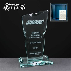 Engraved glass plaque Sales Award.