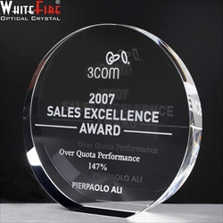 Optical Crystal block, engraved for Sales Award.